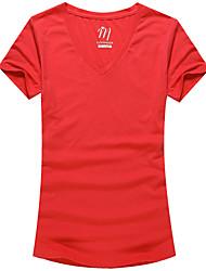 Mulheres Camiseta Decote V Manga Curta Sólido Algodão / Poliéster Mulheres