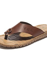 Men's Shoes Nappa Leather Outdoor / Casual Flip-Flops Outdoor / Casual Sport Sandals Flat Heel Hollow-out Black / Brown