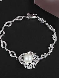 nuovo partito disegno platino placcato link / catena di perle grande lustro reale zircone cristallo