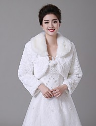Wedding  Wraps Boleros Long Sleeve Faux Fur Ivory