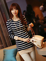 Women's Striped Blue T-shirt , Round Neck Long Sleeve Beaded