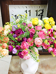 High Quality Artificial Flower Bright Color Camellias Silk Flower for Wedding and Decorative