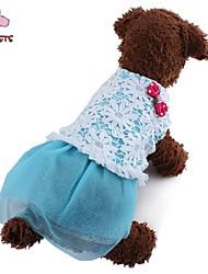 Dog / Cat Dress Blue / Pink Summer Bowknot / Floral / Botanical Wedding / Cosplay