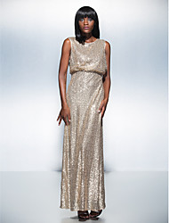 Formal Evening Dress Sheath / Column Scoop Floor-length Sequined with Sequins