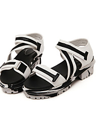 Women's Shoes Flat Heel Creepers Sandals Casual Black/White