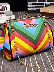 handcee® venta caliente colorido mujer raya pu bolsa de hombro con la cadena