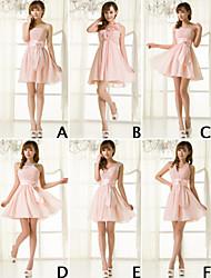 Short / Mini Chiffon Bridesmaid Dress - Lace-up A-line Strapless with Ruffles