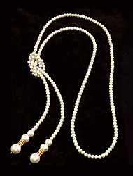 European Style Concise Fashion Imitation Pearl Temperament Long Necklace