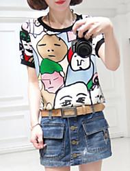 Kortärmad T-shirt Kvinnors Rund hals Chiffong