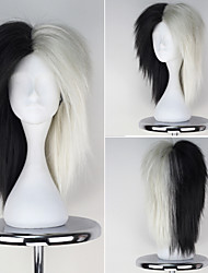 LOL Black and Silver Color Long Straight Girl's Game Cosplay Wig