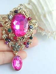 3.35 Inch Gold-tone Multicolor Rhinestone Crystal Drop Flower Brooch Art Decorations