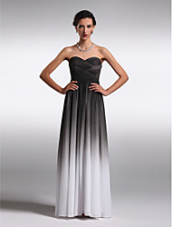Floor-length Chiffon Color Gradient Bridesmaid Dress - Sheath / Column Strapless / Sweetheart with Criss Cross