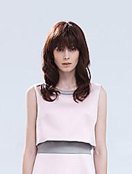 Pretty Human Hair Wavy Virgin Remy Wigs Mono Top Medium Length Hair Wig