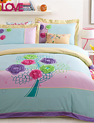 H&C 100% Cotton 800TC Duvet Cover Set 4-Piece Purple,Pink And Green Flowers Pattern Blue And Pink Background HZ2-008