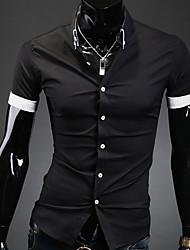Мужской Однотонный Рубашка На каждый день / Для офиса / Для торжеств и мероприятий,Полиэстер,С короткими рукавами,Черный / Белый