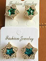 Five-pointed Star Fashion Stud Earrings(Green and bule)