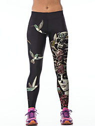 PinkQueen® Women's  Polyester/Spandex 3D Printed Workout Capri Leggings Stretch Tights