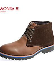 Zapatos de Hombre Exterior/Oficina y Trabajo/Casual Cuero Botas Marrón/Caqui