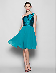 Knee-length Chiffon / Satin Bridesmaid Dress A-line One Shoulder Plus Size / Petite with Side Draping