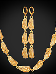 Vogue Gold Necklace Earring sets For Women New Fashion Jewelry Trendy Platinum / 18K Real Gold Plated Cute Slipper