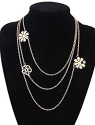 Women's Europe And The United States Three Layers Flower  Alloy Necklace Collarbone Chain