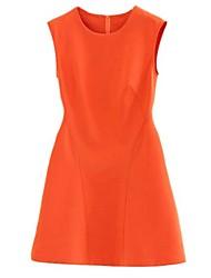 Women's Orange Dress , Party Sleeveless