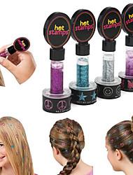 2Pcs Beauty Women Hot Stamps Peace Flowers Hair Glitter (Randoom Color)