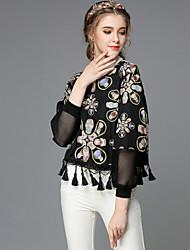 Ethnic Vintage Style Women Fashion Autumn Loose Tassels Patchwork Print Plus Size Long  Sleeve Blouse Shirt Tops