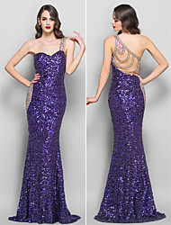 Formal Evening/Prom/Military Ball Dress - Regency Plus Sizes Trumpet/Mermaid One Shoulder Sweep/Brush Train Sequined/Jersey