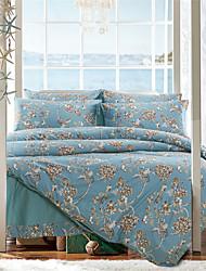 H&C 100% Cotton 1500TC Duvet Cover Set 4-Piece Flowers Pattern HT5