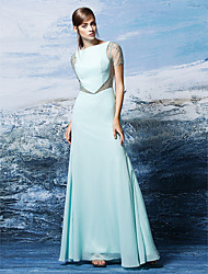 TS Couture® Formal Evening Dress Plus Size / Petite Sheath / Column Bateau Floor-length Chiffon with Crystal Detailing