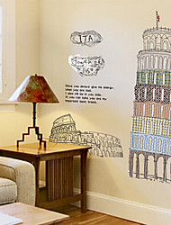 New Rainbow™ Leaning Tower of Pisa PVC Transparent Film Removable Wall Stickers