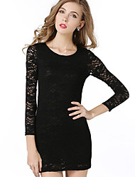 Women's Sexy Lace Hollow Out Long Sleeve Bodycon Dress