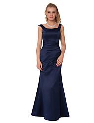 Formal Evening Dress - Ink Blue Sheath/Column Straps Floor-length Satin Chiffon