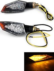 Motorcycle 18 LED Stalk Turn Signals Indicators Yellow Light (2 Pcs)