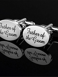 Men's Father Of The Groom Bride Oval Black Wedding Cufflinks