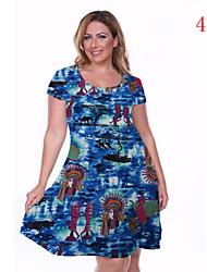 Robe Aux femmes Grandes Tailles Grandes Tailles / Soirée , Fleur Col Arrondi Mi-long Coton / Spandex