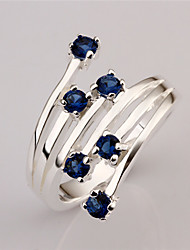 Lawei Women's Korean-style High Quality Simple Cute Mosaic Zircon Silver-plated Ring