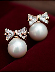 Stud Earrings Pearl Imitation Pearl Shell Alloy Fashion Screen Color Jewelry 2pcs
