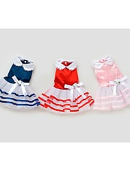 Dog Dress Red / Blue / Pink Summer Bowknot