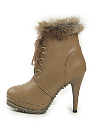 Damesschoenen Lakleer Sleehak Hoge hakken/Modieuze laarzen hoge hakken/Laarzen Casual Zwart/Neutraal