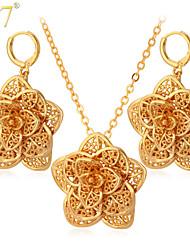 U7® Women's Vintage African Jewelry 18K Gold/Platinum Plated Drop Earrings Hollow Flowers Pendants Necklaces Sets