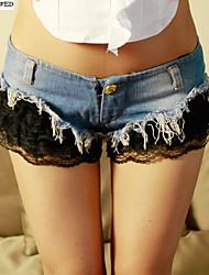 Sexy women Jeans Short Shorts Hot Pants Denim & Lace Low Waist Jeans