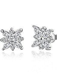 lureme® Fashion Style Silver Plated Leaf Shape with Zircon Stud Earrings