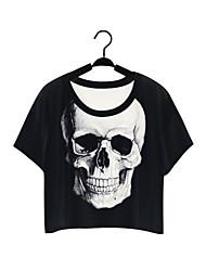 Damen Solide Street Schick / Aktiv Lässig/Alltäglich T-shirt,Rundhalsausschnitt Sommer Kurzarm Schwarz Polyester Mittel