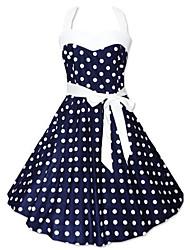 Robe Aux femmes Mi-long Sans Manches Polyester/Mélanges de Coton
