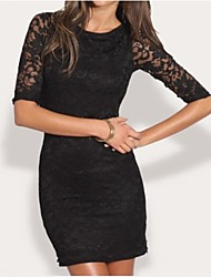 Women's Sexy Bodycon Dress , Round Neck Knee-length Lace