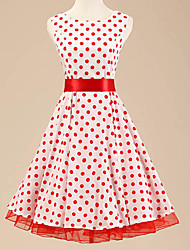 Women's Halter 50s Vintage Polka Dot Rockabilly Sleeveless Dress(Not Include Petticoat)