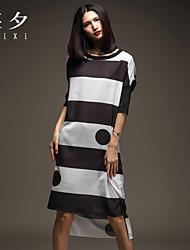 rodada vestido divisão pescoço das mulheres, seda assimétrico ½ manga comprimento