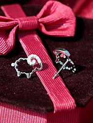 S925 серебро знаки овец повезло овец чистый Tremella гвоздь изысканный женский алмаз стерлингов серебряные серьги